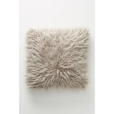 Makura Faux-Fur Cushion - Grey, Size 20 In Sq