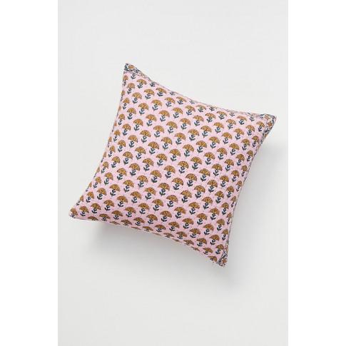 "Kantha-Stitched Verbena Cushion - Pink, Size 18"" Sq"