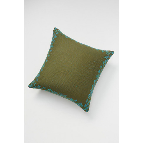 Kantha-Stitched Cushion - Green, Size 20 In Sq