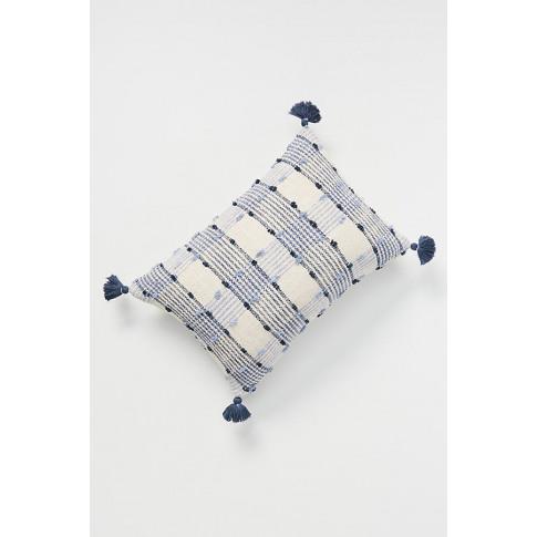 """Ezra Plaid Cushion - Blue, Size 18"""" Sq"""