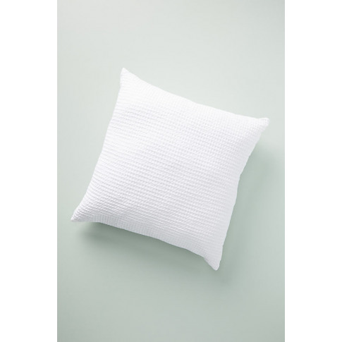 "Woven Waffle Cushion - White, Size 24"" X 24"""