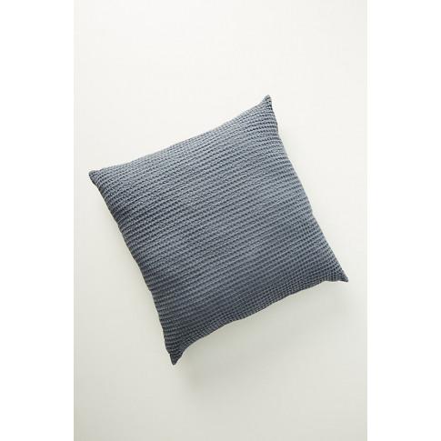"Woven Waffle Cushion - Blue, Size 24"" X 24"""