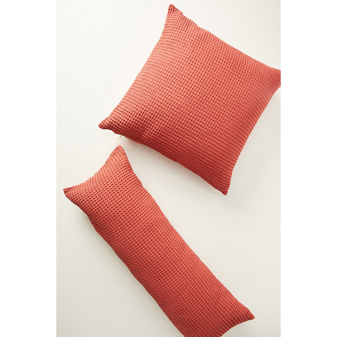 """Woven Waffle Cushion - Red, Size 24"""" X 24"""""""