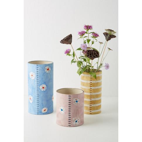 Shibori Leather Vase