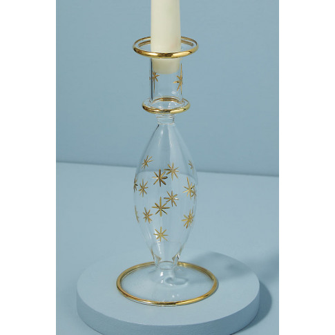 Starry Glass Taper Candle Holder