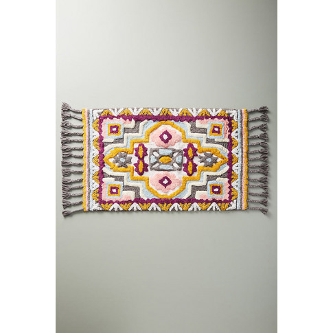 Raja Tasselled-Patterned Bath Mat - Assorted, Size S