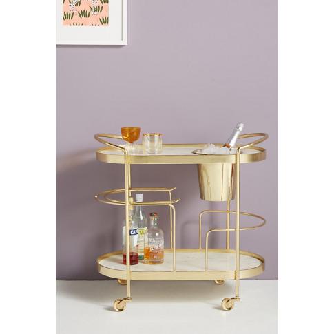 Marble-Top Brass Bar Cart - Brown