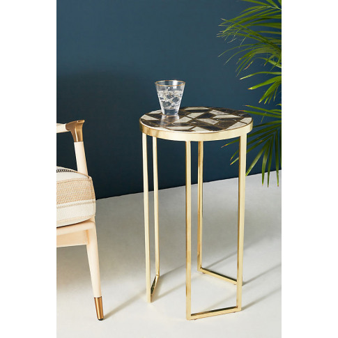 Optical Inlay Side Table - Black