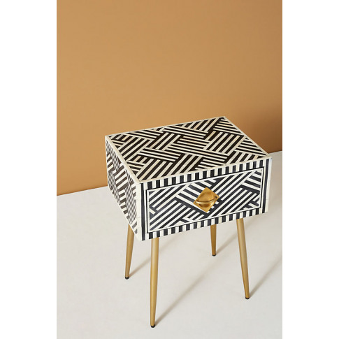 Optical Inlay Bedside Table - Black