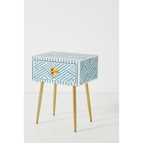 Optical Inlay Bedside Table