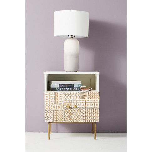 Carved-Patchwork Bedside Table - White