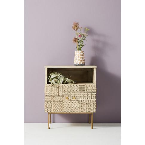 Carved-Patchwork Bedside Table - Beige