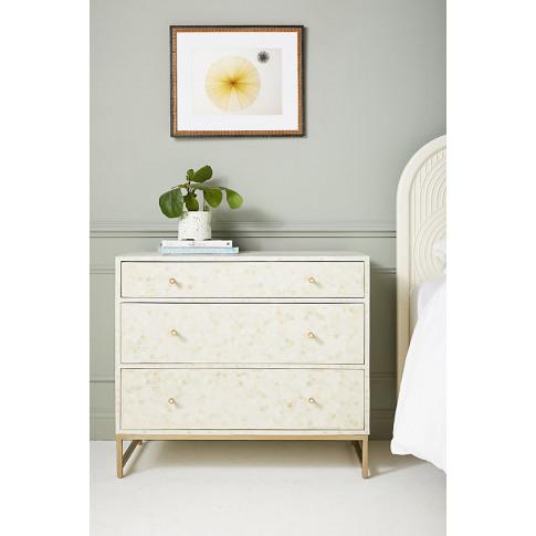 Star Inlay Three-Drawer Dresser - White