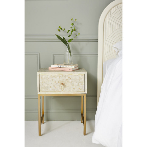 Star Inlay Bedside Table - White