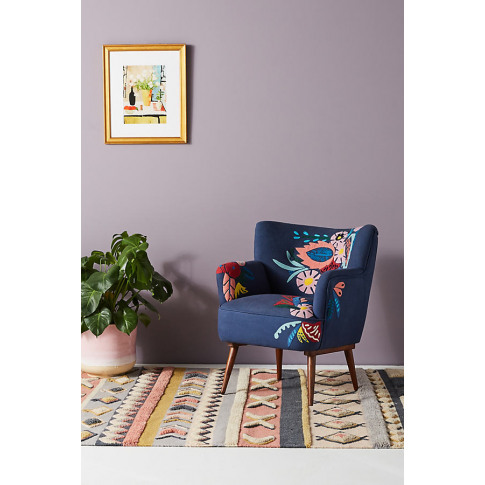 Felted Floral Accent Chair - Blue