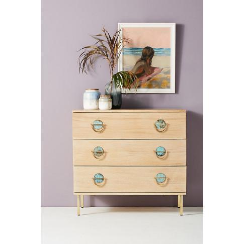 Isoke Three-Drawer Dresser - Beige, Size S