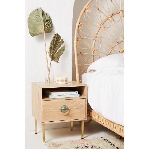 Isoke Storage Bedside Table - Beige