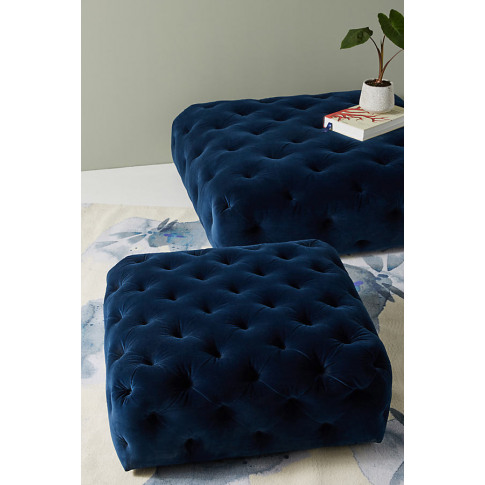 Thelina Tufted Ottoman - Blue, Size S