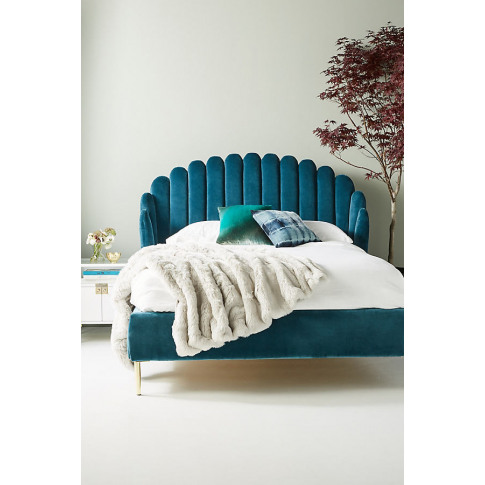 Bethan Gray Feather Collection Bed - Blue, Size Eu King