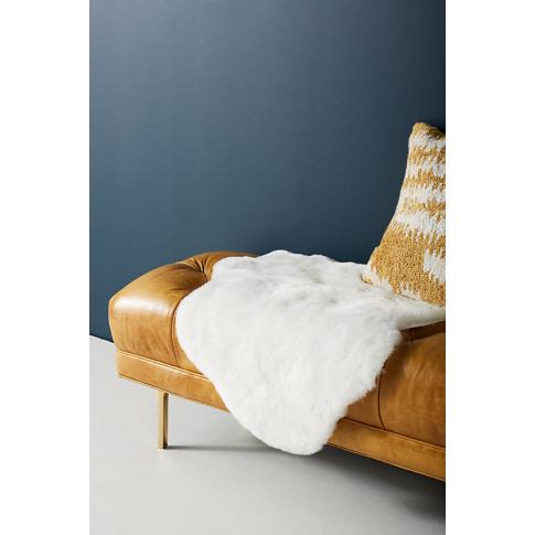 Fireside Faux-Fur Rug - White, Size 2.5 X 9