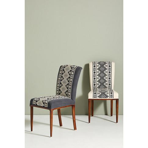 Diamond-Striped Elza Dining Chair - White