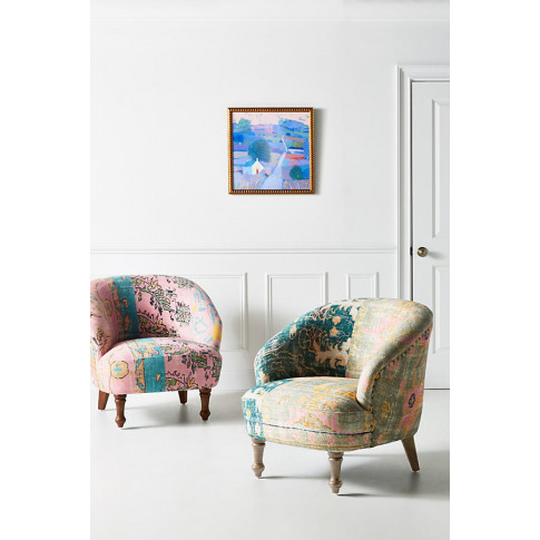 Rug-Printed Accent Chair - Pink