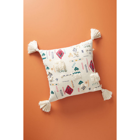 """Embroidered Rupi Cushion - Assorted, Size 18"""" Sq"""