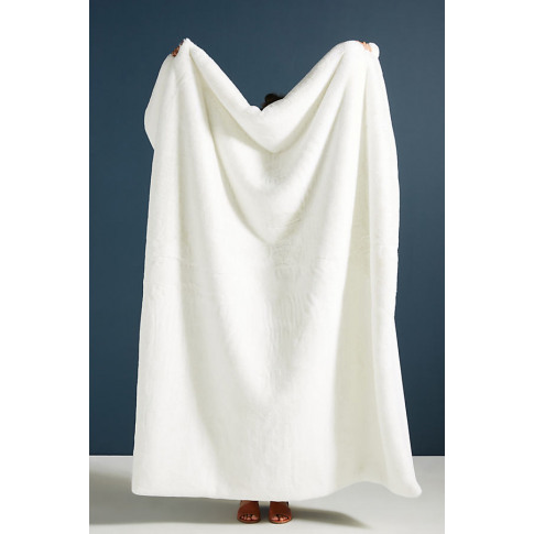 Sophie Faux Fur Throw Blanket - White