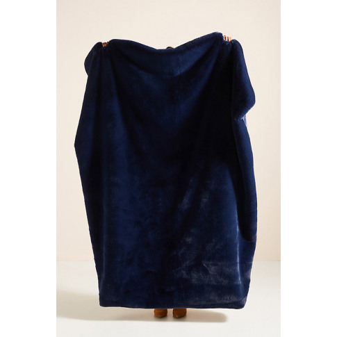 Sophie Faux Fur Throw Blanket - Blue
