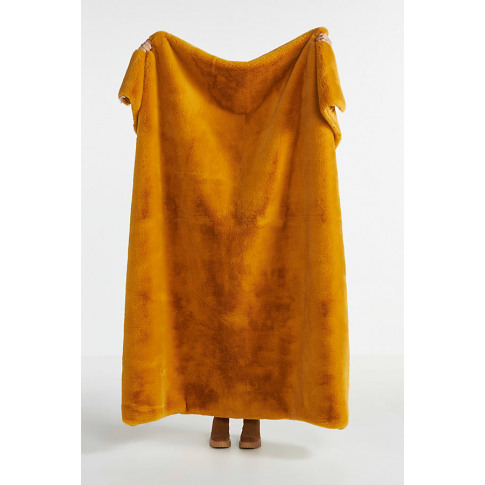 Sophie Faux Fur Throw Blanket - Yellow