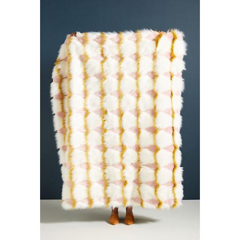 Coren Faux Fur Throw Blanket - White
