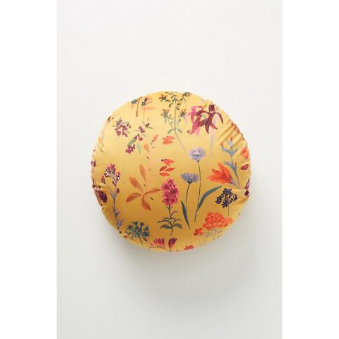Maureen Velvet Cushion - Yellow, Size Round
