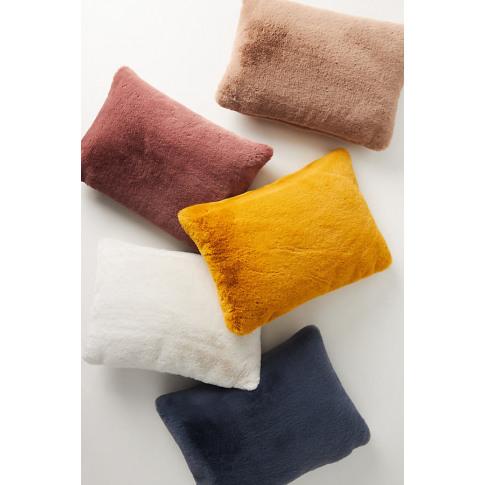 "Sophie Faux-Fur Cushion - Yellow, Size 14"" X 20"""