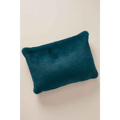 """Sophie Faux-Fur Cushion - Blue, Size 14"""" X 20"""""""