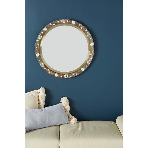 Abigail Floral Inlay Mirror - Grey, Size M