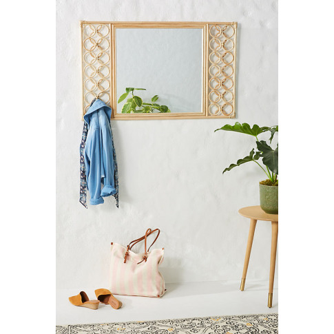Lattice Rattan Mirror - Beige, Size M
