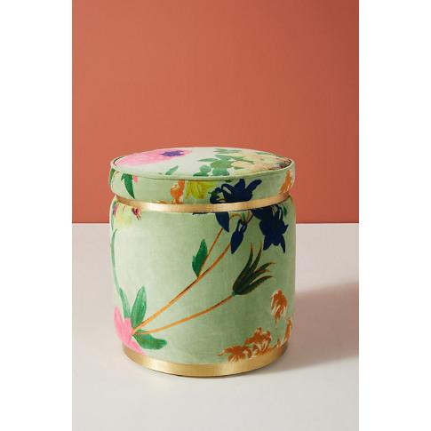 Velvet Floret Stool - Green