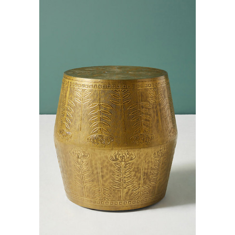 Embossed Drum Side Table - Brown