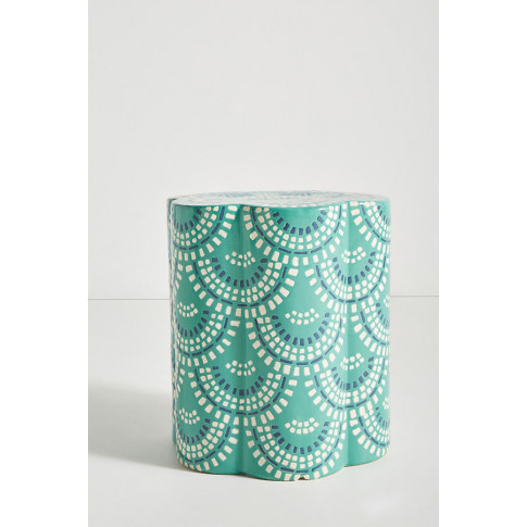 Scalloped Ceramic Side Table - Blue