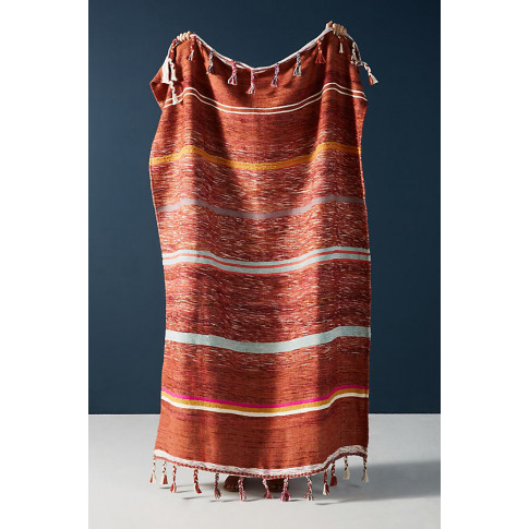 Woven Anya Striped Throw Blanket - Orange