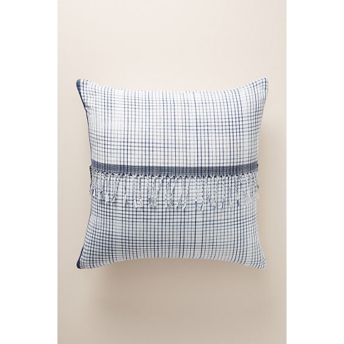 Woven Gingham Cushion - Blue, Size King Bfrm