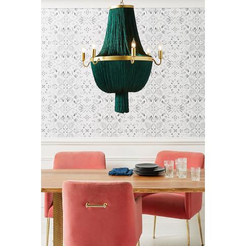 Lulu Fringe Chandelier - Green, Size L
