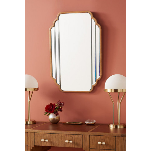 Soho Home x Anthropologie Oak Deco Mirror - Beige, S...