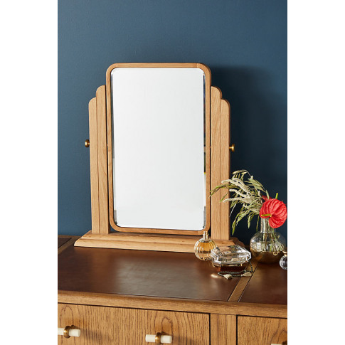 Soho Home X Anthropologie Oak Vanity Mirror - Beige, Size S