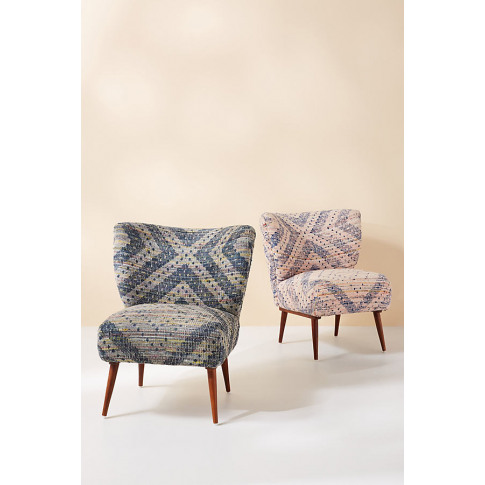 Alaris Rug-Printed Petite Accent Chair - Blue
