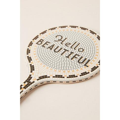 Hello Beautiful Bistro Tile Mirror - Black