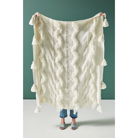 Faustine Tasselled Throw Blanket - White