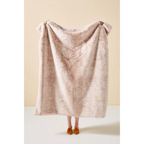 Fawn Faux-Fur Throw Blanket - Beige
