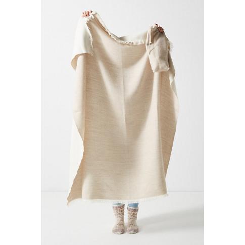 Alpaca Travel Throw Blanket - Beige