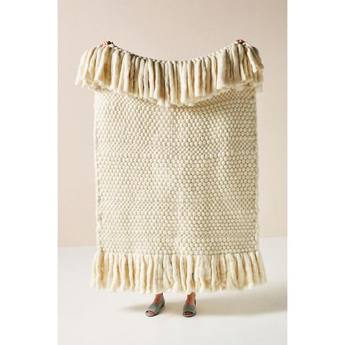 Bobbie Wool Throw Blanket - White